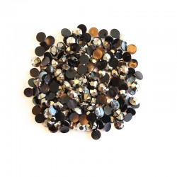Resin Cabochons, 6 x 2 mm, Silver, 10 g