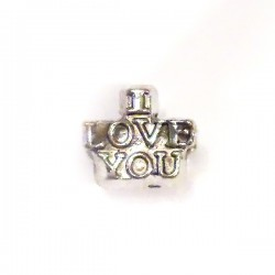 Berlock 'I Love You', 11 x 7 mm, Antik silver, 1 st
