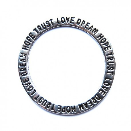 Hope trust love dream - dount tag, 35 mm, Antik silver, 1 st